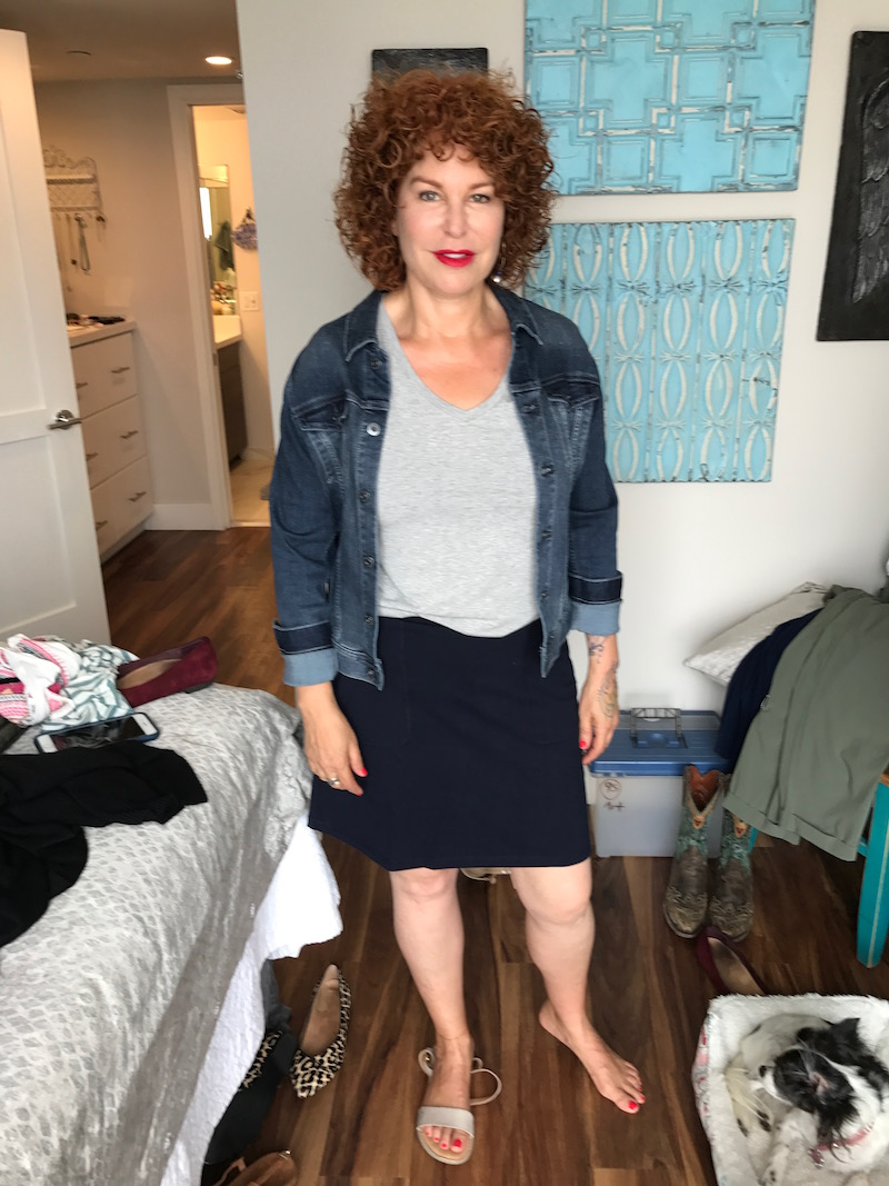 halogen light grey v-neck t-shirt, halogen light grey short sleeve t-shirt, ag denim jacket, navy blue a-line skirt, born grey sandals