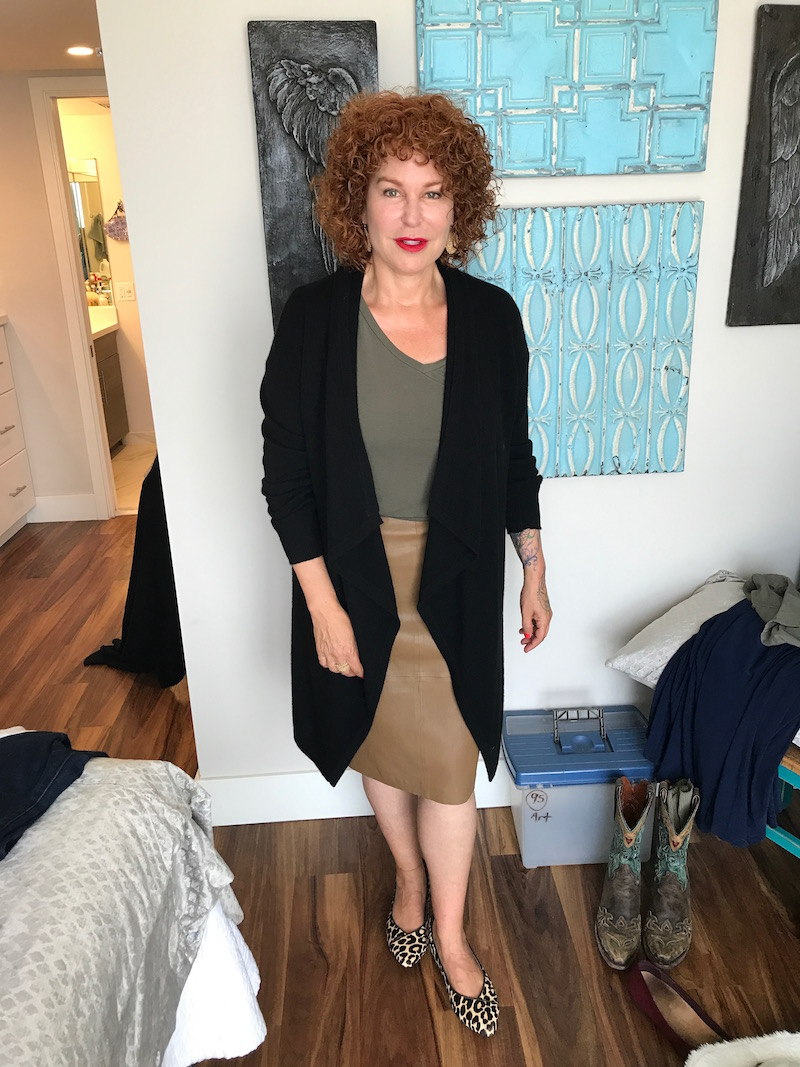 halogen green v-neck t-shirt, halogen green short sleeve t-shirt, chicos black cardigan, tan leather mid-length skirt, vince leopard print pointy toe flats