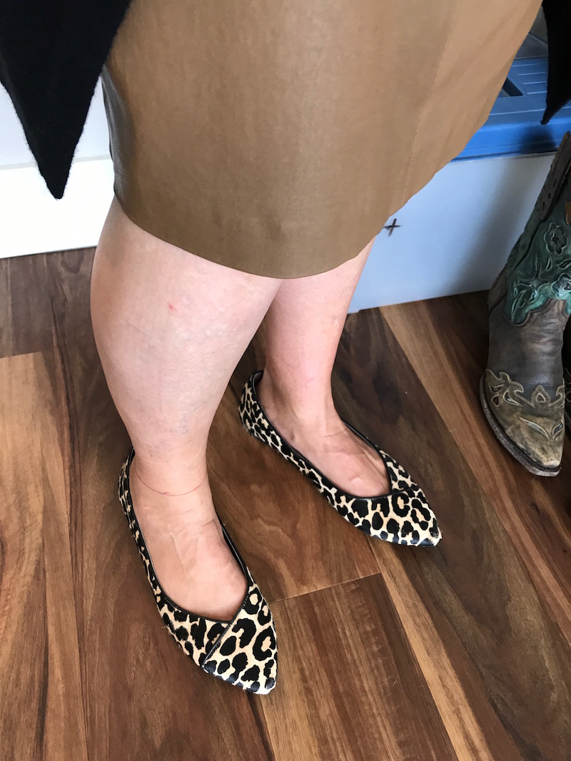 vince leopard print pointy toe flats