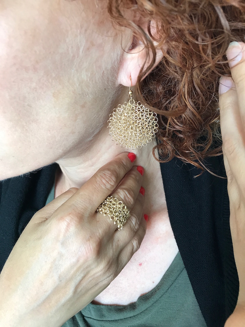 gold woven drop earrings, gold woven ring
