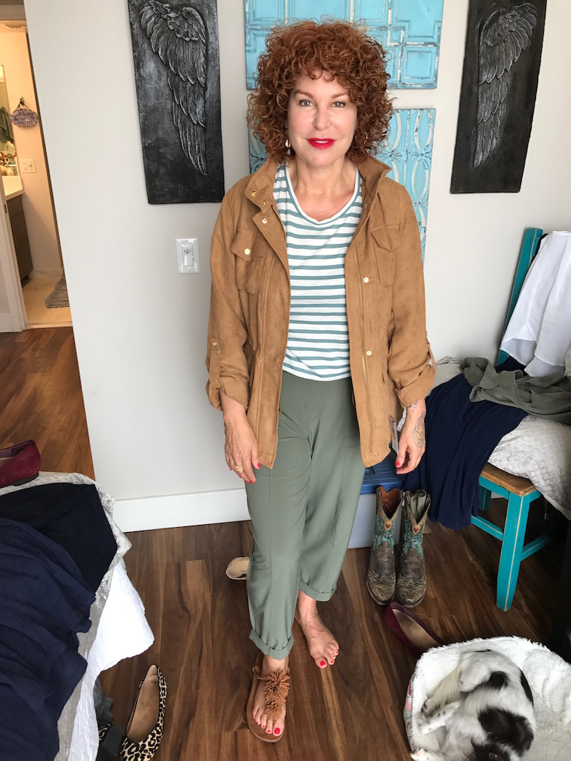 madewell white and green striped t-shirt, madewell white and green striped short sleeve t-shirt, vince camuto tan suede jacket, talbots olive green pants, tan suede fringe sandals