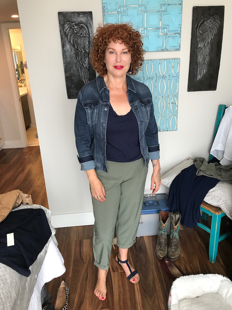 caslon navy blue short sleeve t-shirt, ag denim jacket, talbots green pants, alfani blue sandals