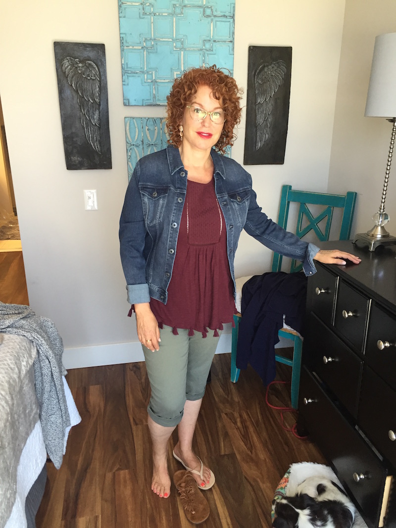 caslon maroon short sleeve top, caslon maroon fringe edge top, ag denim jacket, royalty olive green capri pants, royalty olive green cuffed pants, beige suede sandals, tan suede fringe sandals