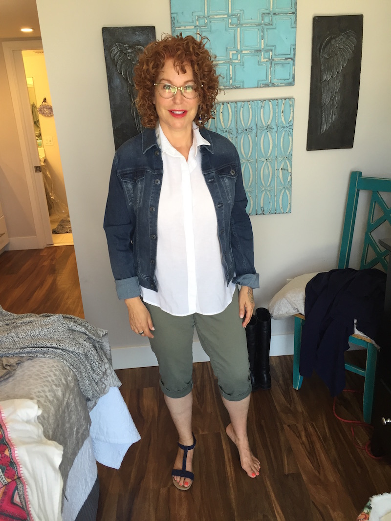 white sleeveless top, white button front top, white collared top, ag denim jacket, royalty olive green capri pants, roylaty olive green cuffed pants, alfani blue sandals