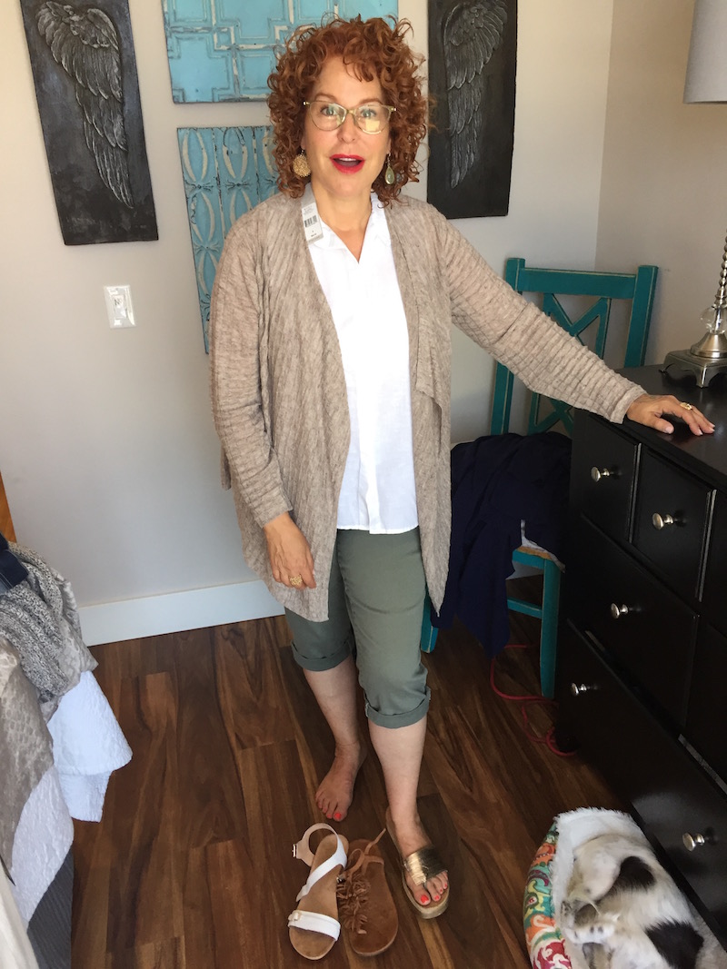 white sleeveless top, white button front top, white collared top, tan cardigan, royalty olive green capri pants, royalty olive green cuffed pants, vince cork studded sandals, vince white sandals, tan suede fringe sandals, cork and gold sandals