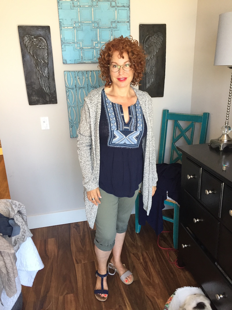 lucky brand blue and multi-color detail neck top, lucky brand blue and multi-color detail neck sleeveless top, light grey hooded cardigan, royalty olive green capri pants, royalty olive green cuffed pants, alfani blue sandals, born grey sandals