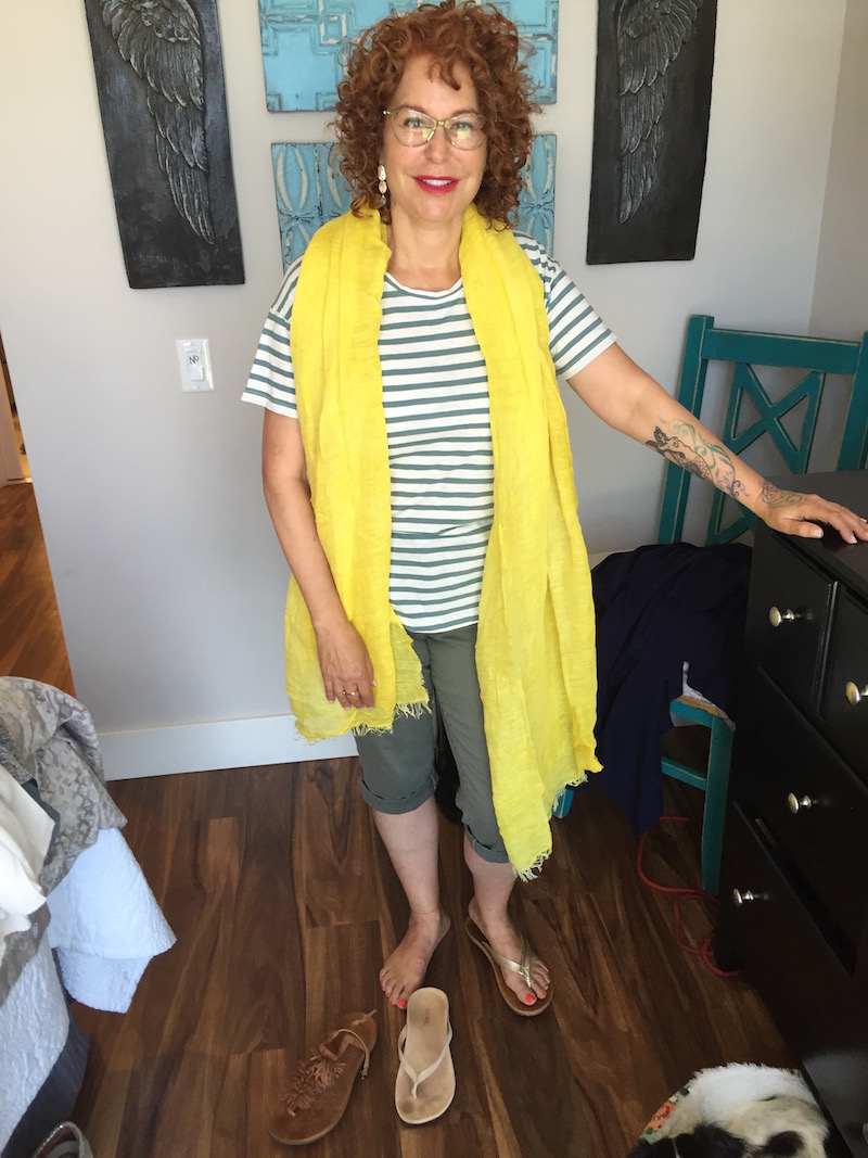 madewell white and green striped t-shirt, yellow scarf, royalty olive green capri pants, royalty olive green cuffed pants, tan suede fringe sandals, vince beige sandals, gold sandals