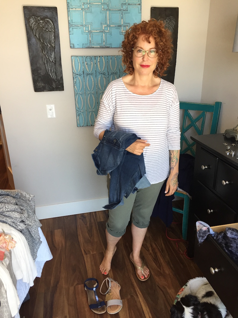 white and navy blue striped top, white and navy blue striped 3/4 sleeve top, ag denim jacket, royalty olive green capri pants, royalty olive green cuffed pants, alfani blue sandals, born grey sandals, gold sandals