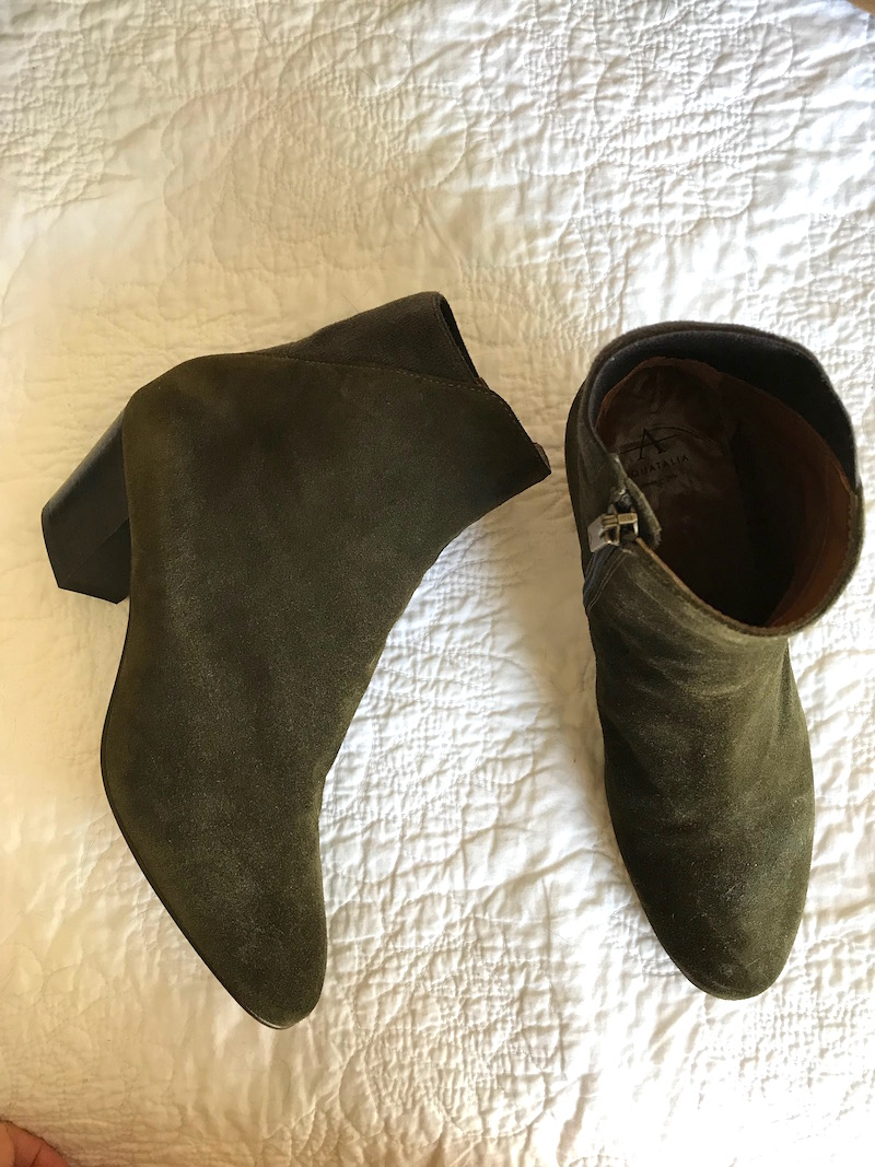 Aquatalia dark green booties, aquatalia green suede boots