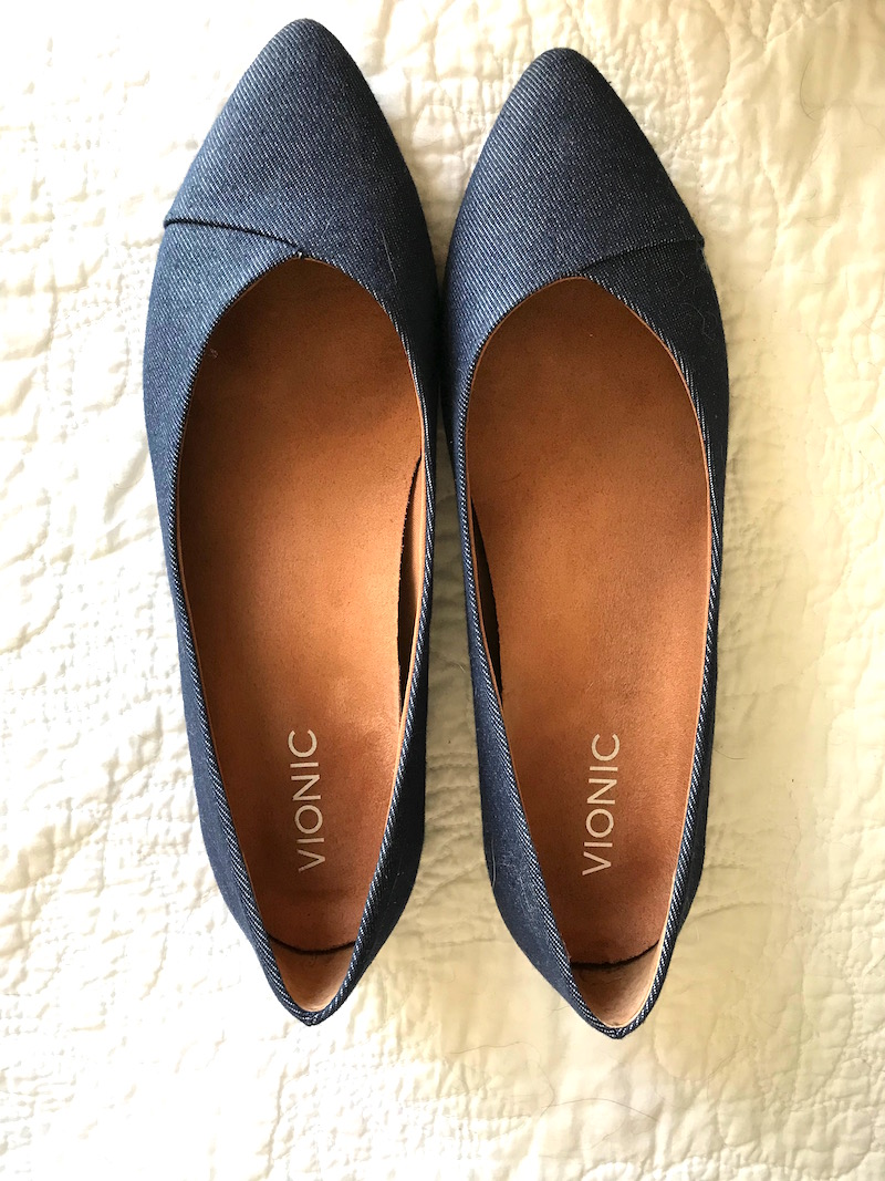 Vionic denim flat, Vionic blue denim pointy toe flat