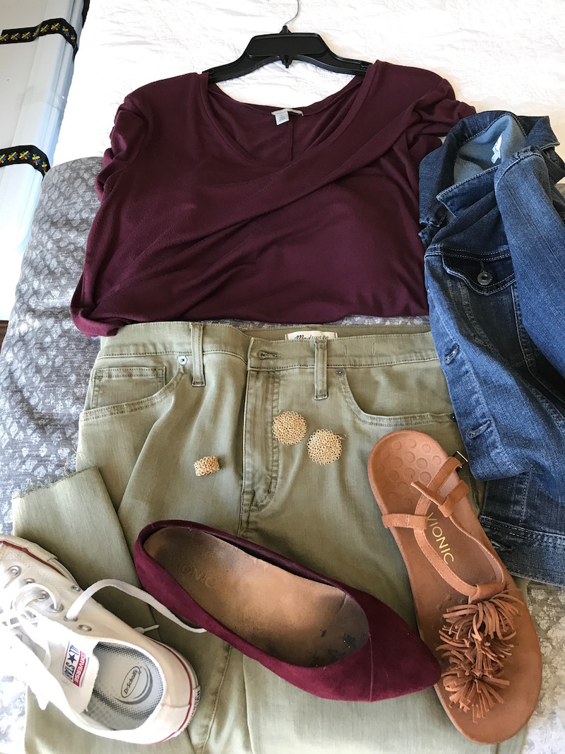halogen red t-shirt, halogen red tee, halogen red v-neck, ag denim jacket, ag jean jacket. madewell olive green jeans, vionic tan suede fringe sandals, vionic red suede pointy toe flats, converse white sneakers, woven gold ring, woven gold earrings
