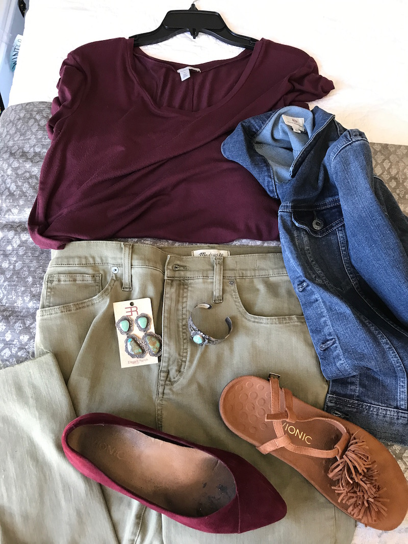 halogen red t-shirt, halogen red tee, halogen red v-neck, ag denim jacket, ag jean jacket. madewell olive green jeans, vionic tan suede fringe sandals, vionic red suede pointy toe flats, silver and green stone dangle earrings, silver and green stone bracelet