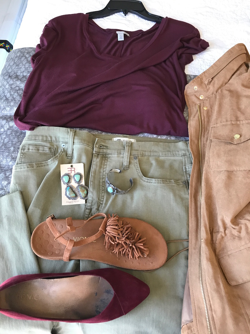 halogen red t-shirt, halogen red tee, halogen red v-neck, ag denim jacket, vince camuto tan suede jacket. madewell olive green jeans, vionic tan suede fringe sandals, vionic red suede pointy toe flats, silver and green stone dangle earrings, silver and green stone bracelet