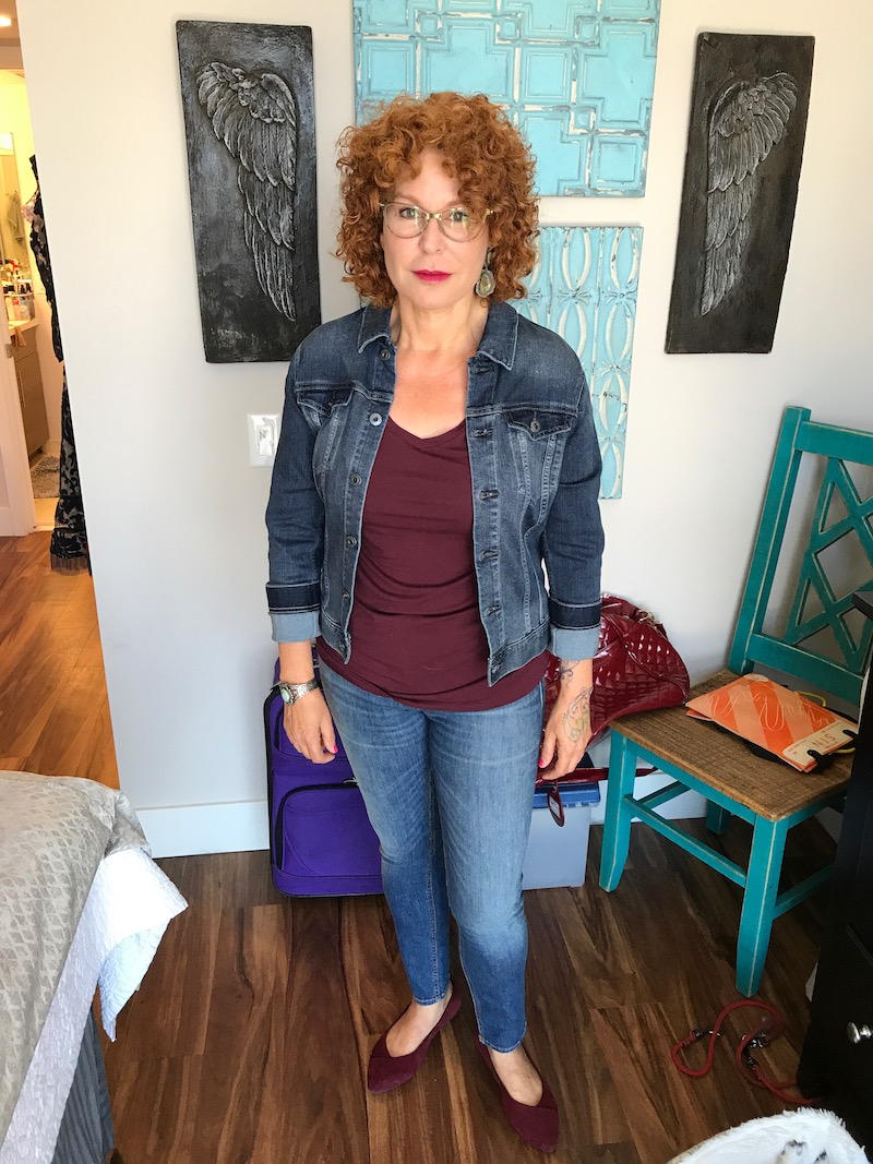 halogen red tee, halogen v-neck tee, rag and bone jeans, light blue jeans, vioniv red pointy toe flats, ag denim jacket, ag jean jacket