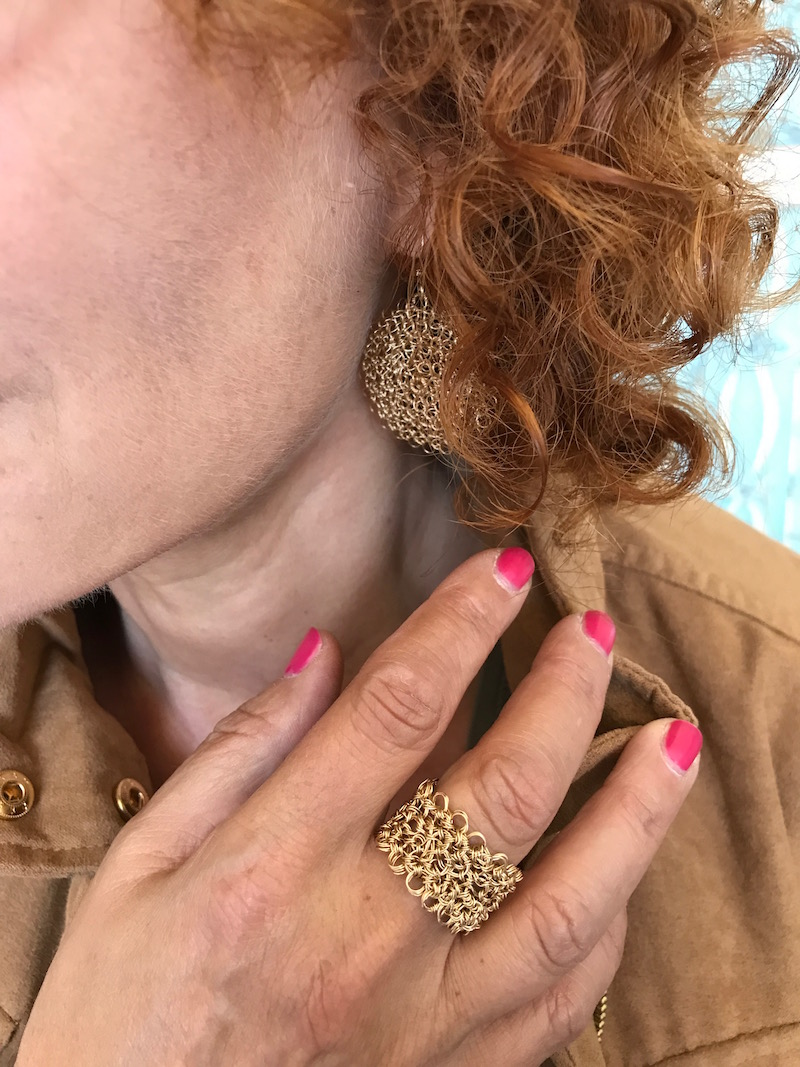 woven gold ring, woven gold earrings