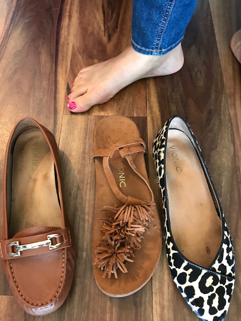 vionic brown loafers, vionic tan suede fringe sandals, vionic leopard print pointy toe flats