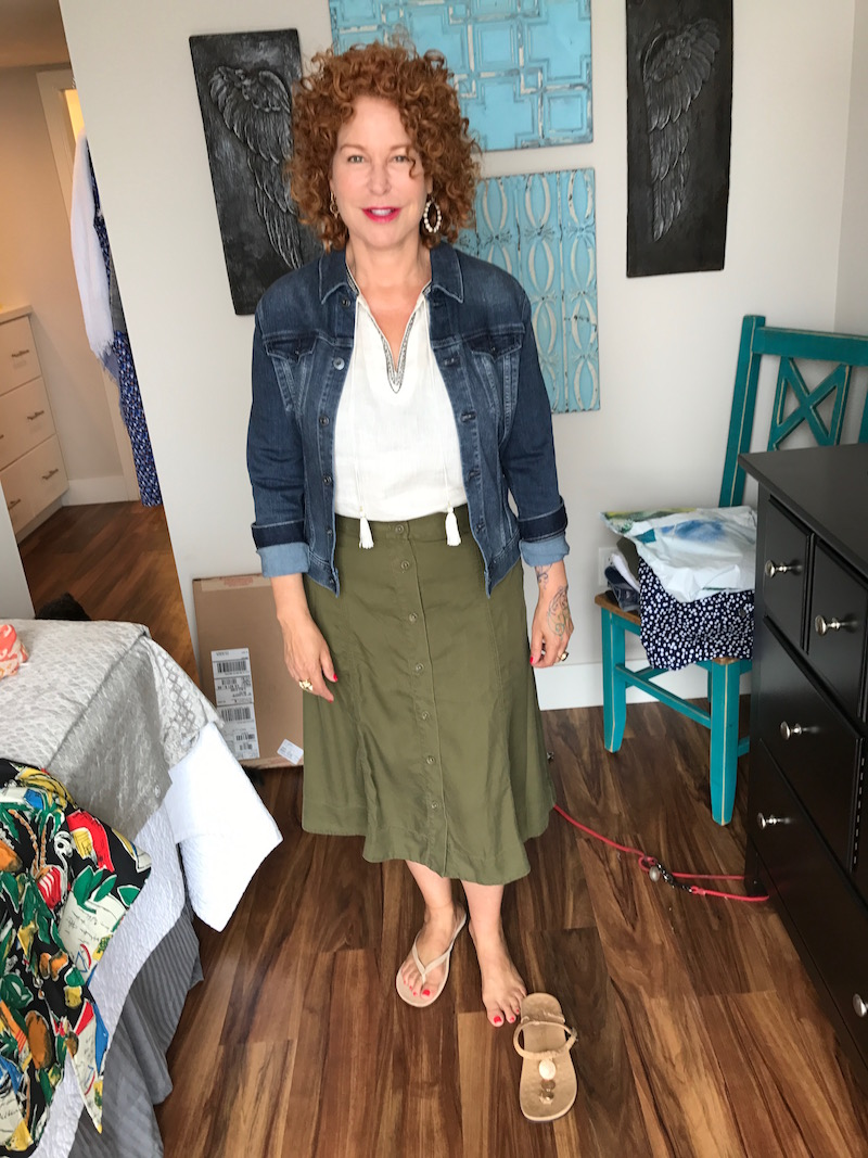 nic + zoe white sleeveless top, nic + zoe white tassel neck top, aj denim jacket, ag jean jacket,  olive green skirt, olive green button up skirt, beige suede sandals, nude metal disc sandals