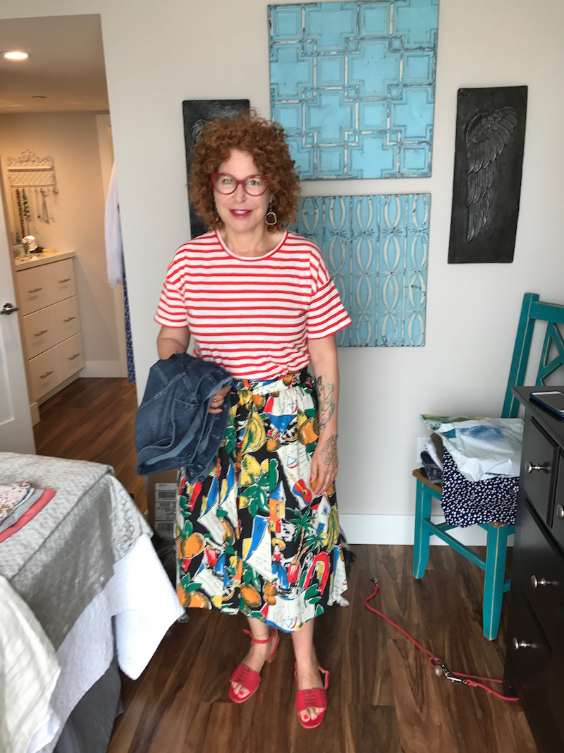 madewell white and red striped t-shirt, ag denim jacket, ag jean jacket, printed skirt, multi-colored skirt, island printed skirt, red braided sandals, red sandals