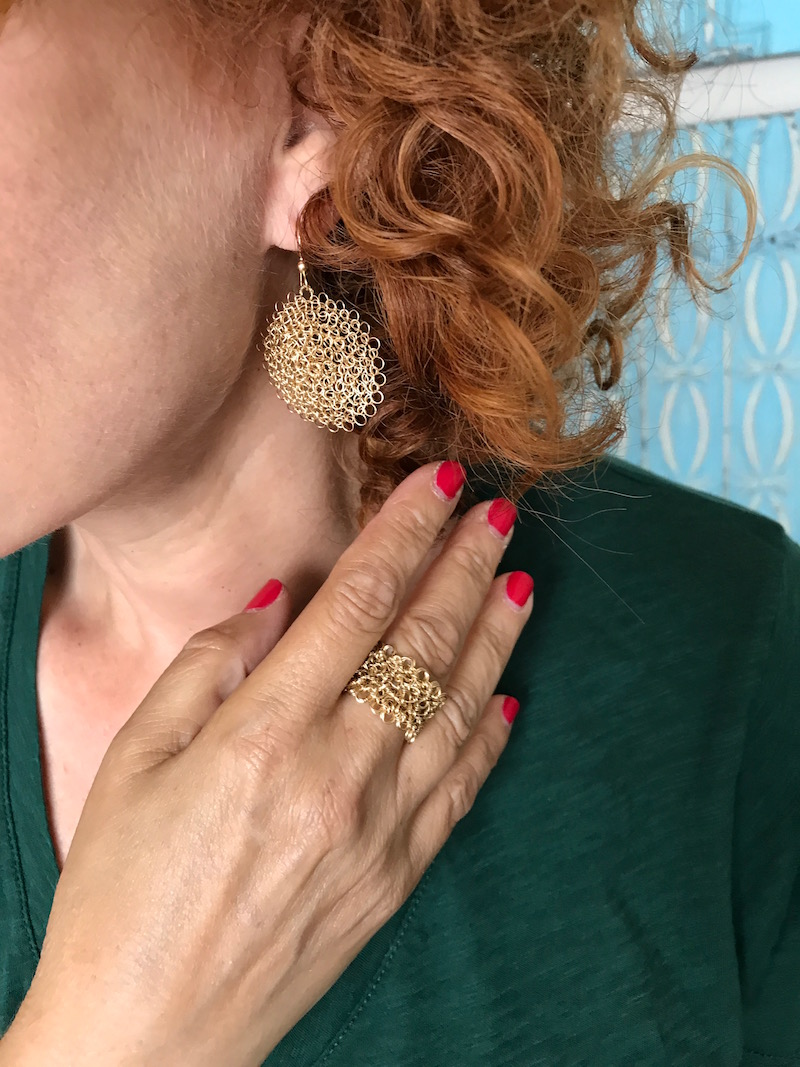 miriam knitted gold circle earrings, miriam knitted gold ring
