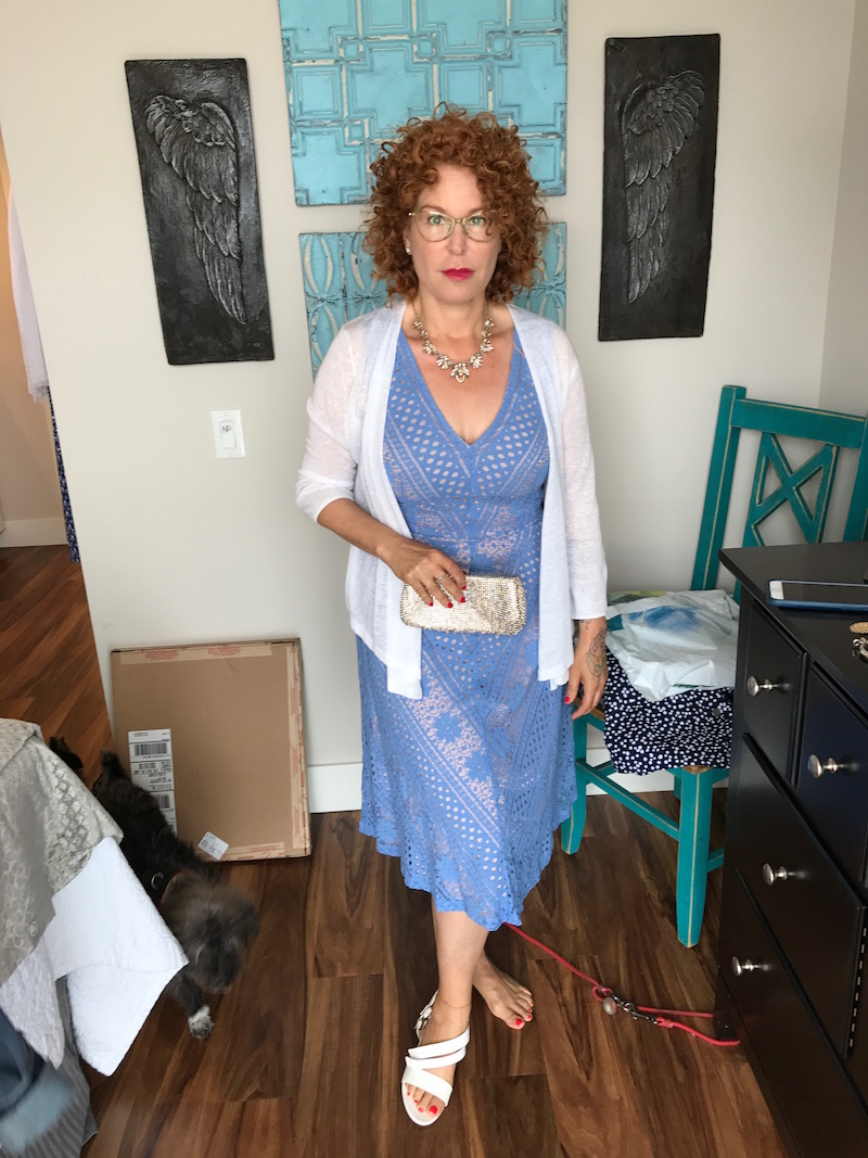 baby blue lace dress, baby blue v-neck dress, baby blue sleeveless dress, cyrus white cardigan, gold clutch, white strappy sandals