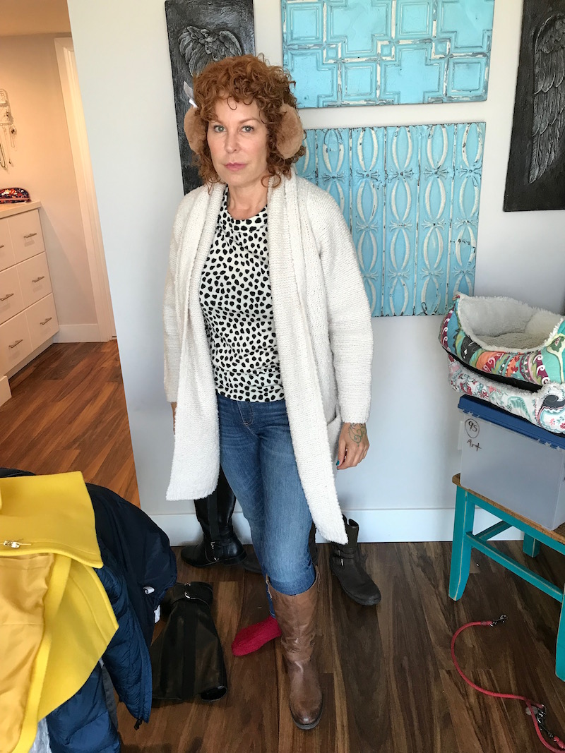 j.crew white and black polka dot sweater, vince cream cardigan, rag & bone light blue jeans, rag & bone light blue denim, tan ear muffs, raffini brown leather knee high boots