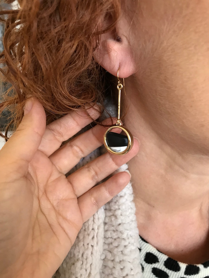 gold and black stone bar and circle drop earrings
