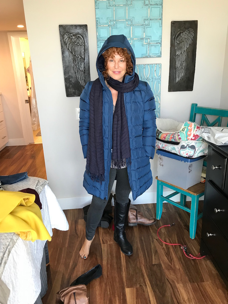 michael stars grey v-neck sweater, the north face blue coat, lysse grey leggings, navy blue fringe edge scarf, black ear muffs, black leather knee high boots
