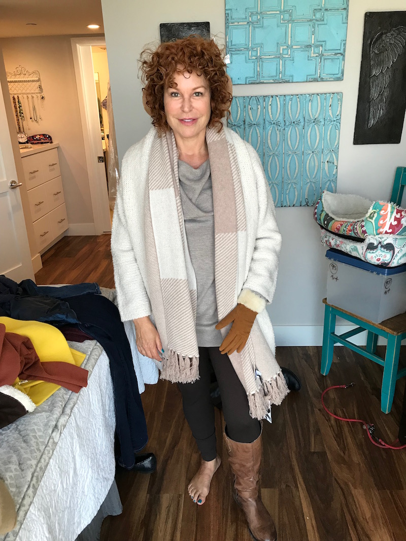 caslon draped neck sweater, caslon grey sweater, vince cream cardigan, tan ear muffs, tan gloves, tan and fur edge gloves, beige and cream scarf, two by vince camuto brown leggings, raffini brown leather knee high boots