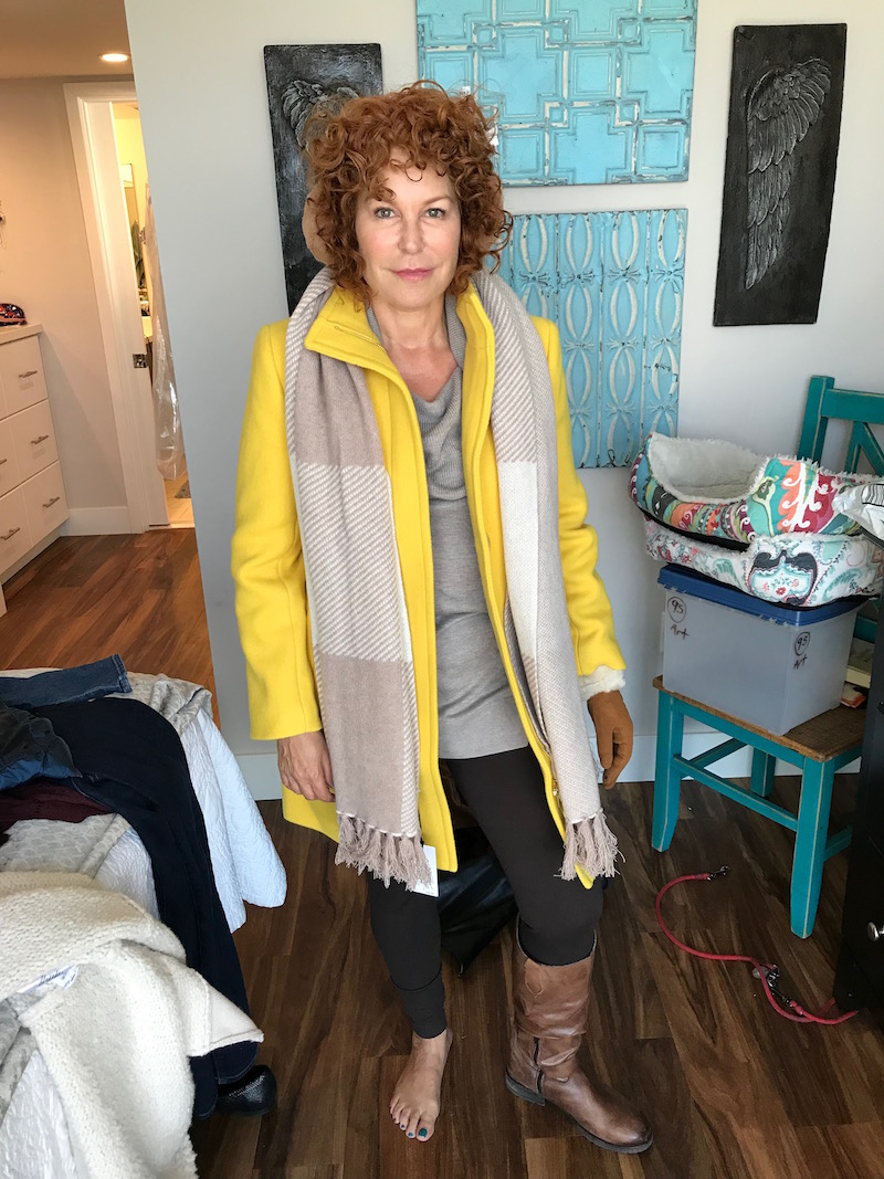caslon draped neck sweater, caslon grey sweater, j.crew yellow coat, tan ear muffs, tan gloves, tan and fur edge gloves, beige and cream scarf, two by vince camuto brown leggings, raffini brown leather knee high boots