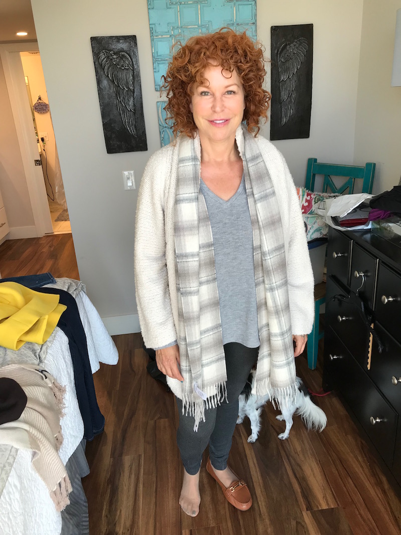 michael stars grey sweater, michael stars grey v-neck sweater, vince cream cardigan, beige plaid fringe edge scarf, lysse grey leggings, vionic brown loafers