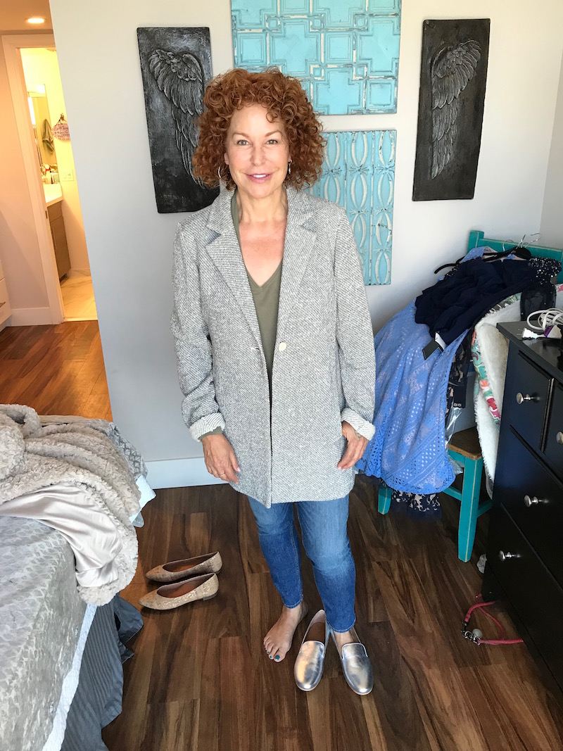 michael stars olive green t-shirt, eileen fisher grey single button jacket, eileen fisher grey single button cardigan, michael stars olive green v-neck, , rag & bone blue skinny jeans, rag & bone blue denim, gentle souls silver flats, gentle souls silver loafers