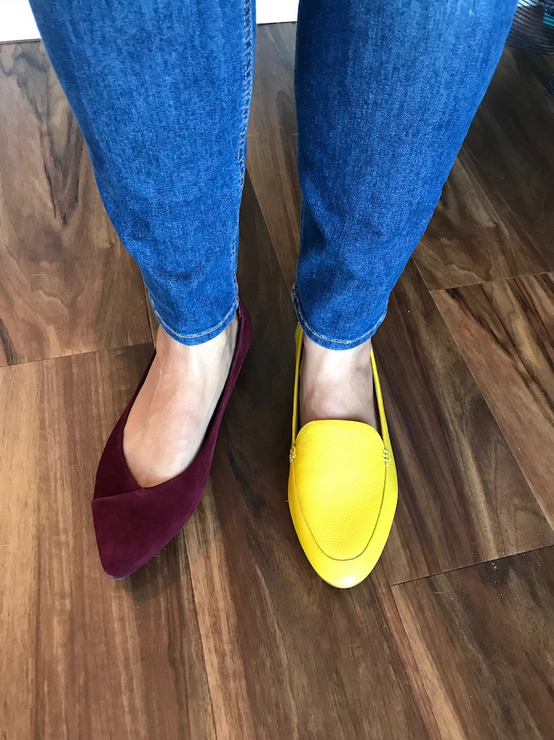 vionic burgundy suede pointy toe flats, talbots yellow flats, talbots yellow loafers