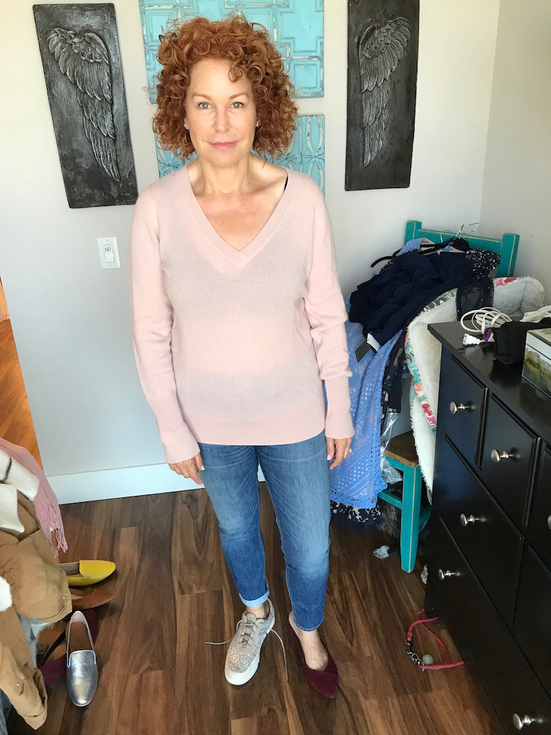 halogen light pink sweater, halogen light pink v-neck sweater, vionic burgundy suede pointy toe flats, L'Amour Des Pieds blush and silver sneakers
