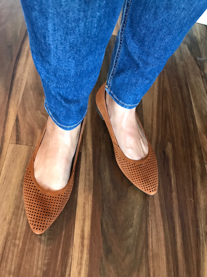 vionic tan suede perforated pointy toe flats