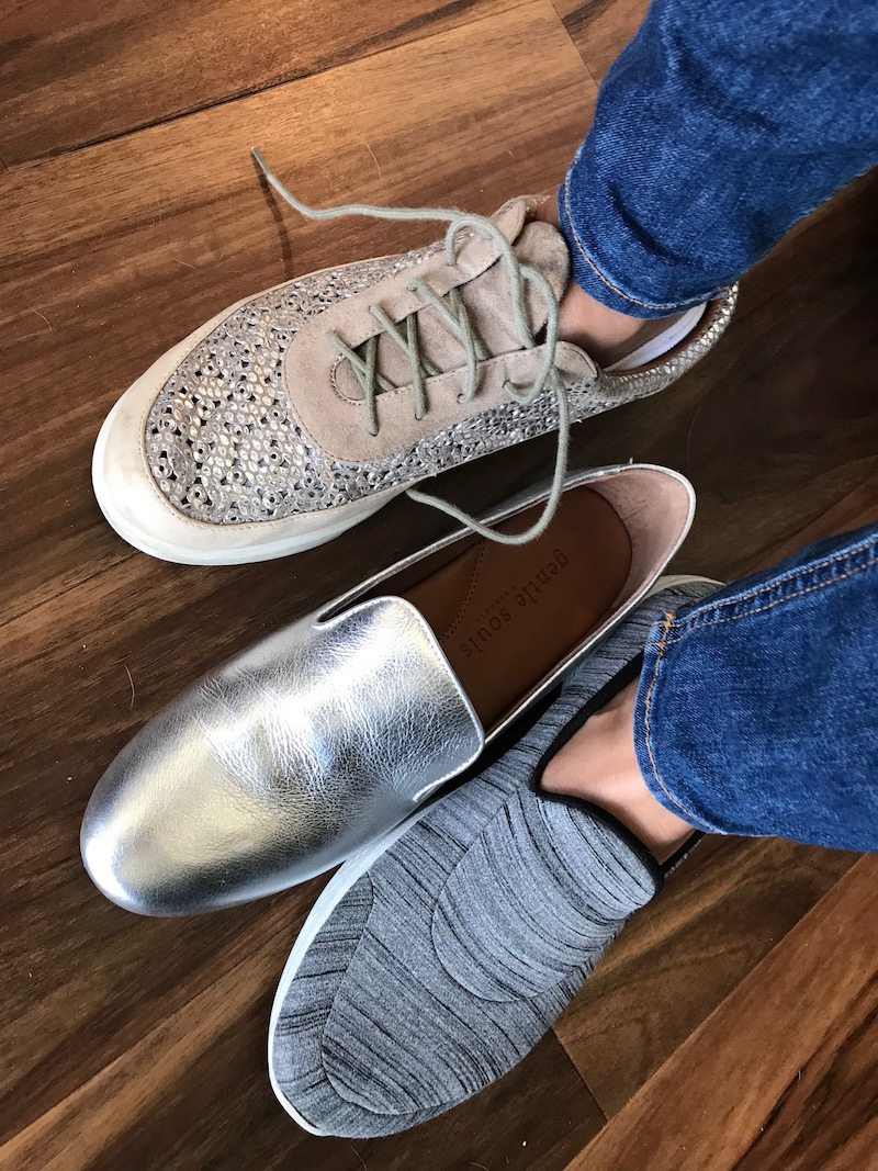 L'Amour Des Pieds blush and silver sneakers, gentle souls silver loafers, gentle souls silver flats, grey slip on sneakers