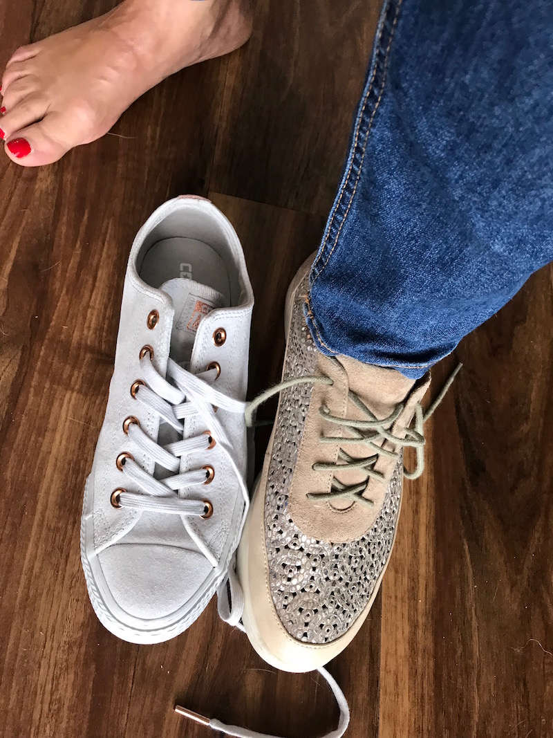 converse light grey sneakers, L'Amour Des Pieds blush and silver sneakers