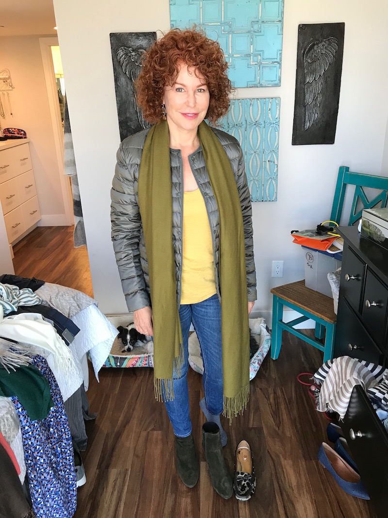 caslon yellow t-shirt, caslon yellow tee, uniqlo olive green button up jacket, pea green fringe edge scarf, rag and bone blue jeans, rag and bone blue skinny jeans, aquatalia green suede ankle booties, marc joseph leopard print loafers