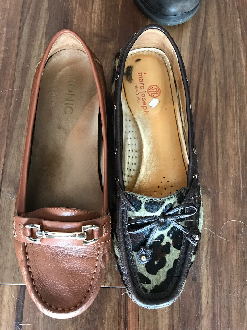 vionic brown loafers, marc joseph leopard print loafers