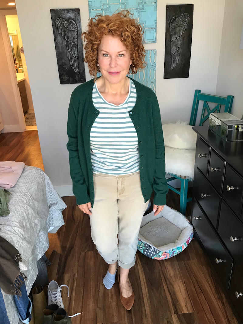 madewell white and green striped t-shirt, madewell white and green striped tee, c by bloomingdales green button up cardigan, chicos khaki denim, chicos khaki pants, vionic tan suede pointy toe flats