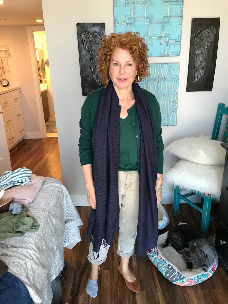 madewell green t-shirt, madewell green v-neck tee, navy blue fringe edge scarf, c by bloomingdales green button up cardigan, chicos khaki denim, chicos khaki pants, vionic tan suede pointy toe flats