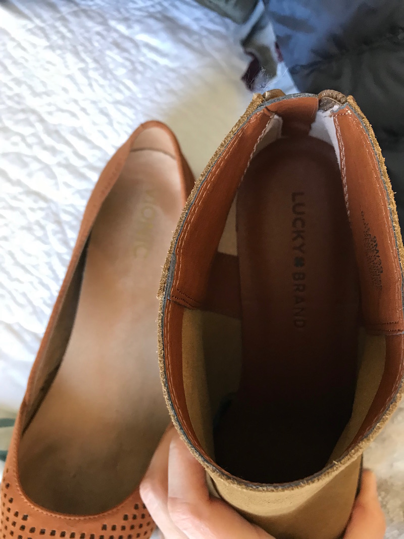 vionic tan suede pointy toe flats, lucky brand tan suede booties