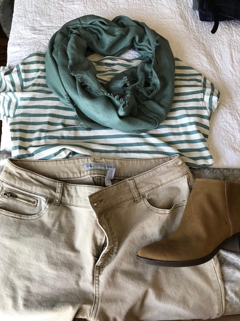 madewell white and green striped t-shirt, madewell white and green striped tee, light green fringe edge scarf, chicos khaki jeans, chicos khaki pants, lucky brand tan suede booties