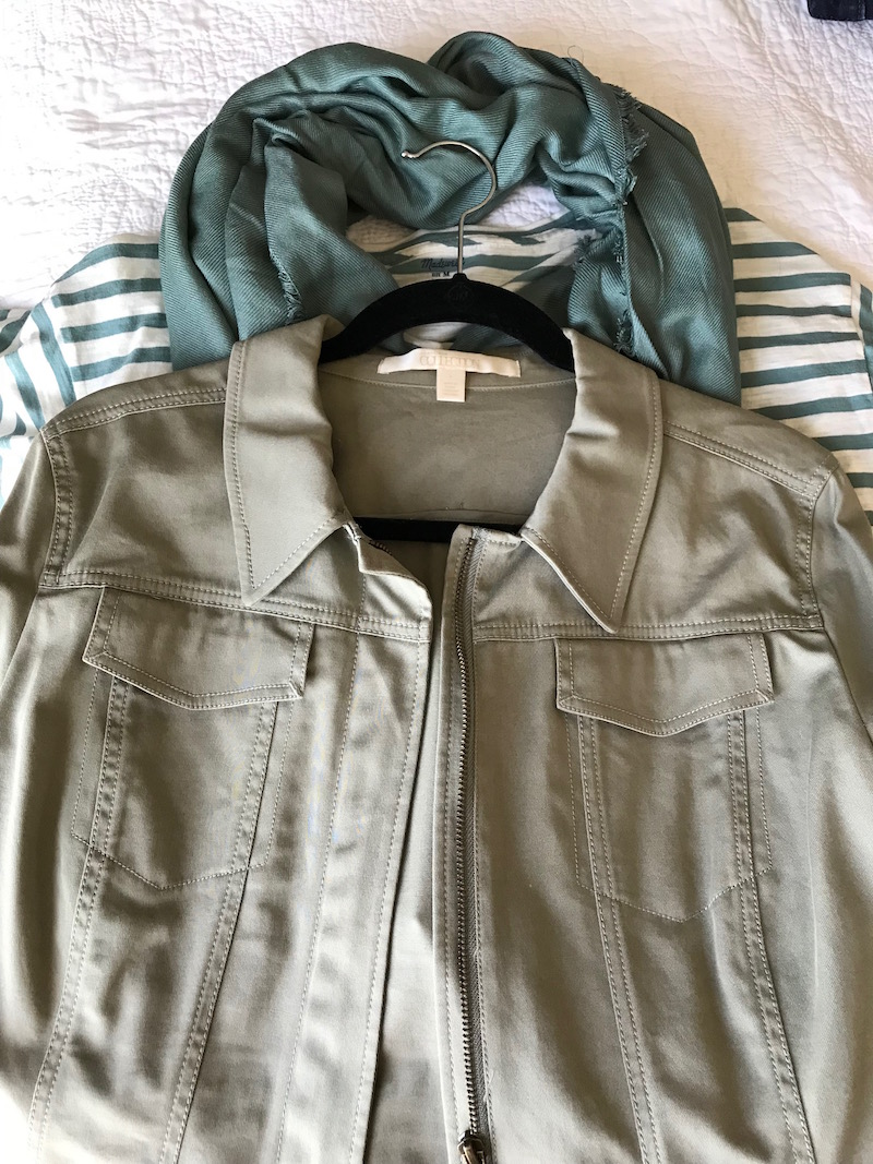 nordstrom collection olive green jacket, light green fringe edge scarf