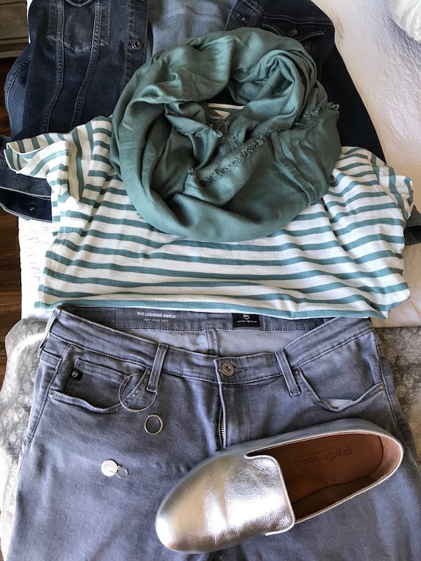 madewell white and green striped t-shirt, madewell white and green striped tee, ag jean jacket, ag denim jacket, light green fringe edge scarf, ag grey skinny jeans, grey denim, gentle souls silver flats