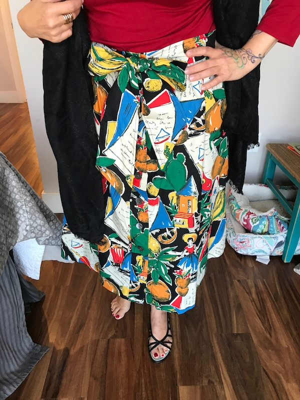 j.crew multi-color print skirt, j.crew multi-color skirt, j.lcrew printed skirt, j.crew tie waist skirt, sigerson morrison black heel sandals