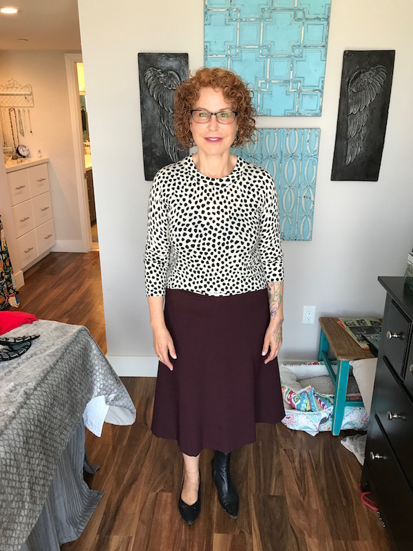 j.crew white and black polka dot sweater, j.crew polka dot sweater, vionic black snakesktalbots burgundy skirt, talbots burgundy flare skirt, in pointy toe flats, black witch booties, witch black pointy toe boots