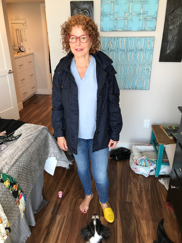 nordstrom collection light blue sweater, nordstrom collection v-neck sweater, rag and bone light blue skinny jeans, light blue denim, michael kors navy blue jacket, talbots yellow flats