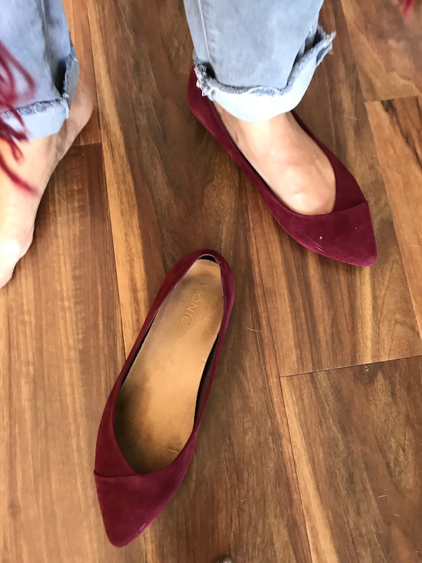 vionic red suede pointy toe flats