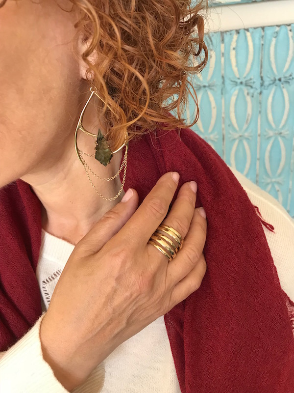 gold chandelier and green stone earrings, gold wrap around ring