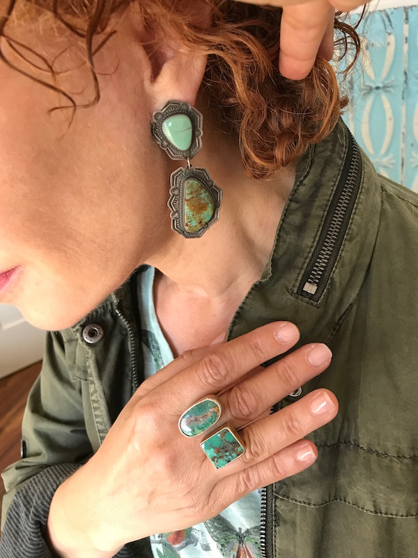 silver and green stone drop earrings, silver and green stone statement ring